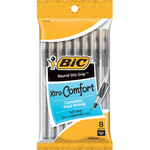 Bic Round Stic Grip Black 8pk