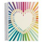 Coiled Notebook 8.5x11 Lined Rainbow Heart